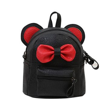 School Backpack trendy Aelicy Women Backpack Leather School Bag @@ Satche Bow Tie Travel Shoulder Bag for women 2018 Girl Lmochila feminina masculina AT_54_4