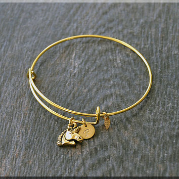 Gold Unicorn Charm Expandable Bangle Bracelet, Adjustable Bangle, Stacking Charm Bracelet, Personalized Charm Bangle, Fairy Tale Jewelry
