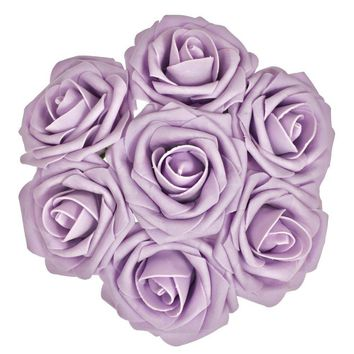Lilac Purple Artificial Flowers 50pcs Real Looking Roses with Stems for Wedding Bouquets Centerpieces Party Baby Shower Decorations DIY