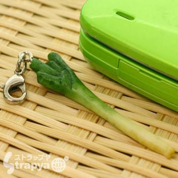Realistic Miniature Vegetable Cell Phone Strap (Green Onion)