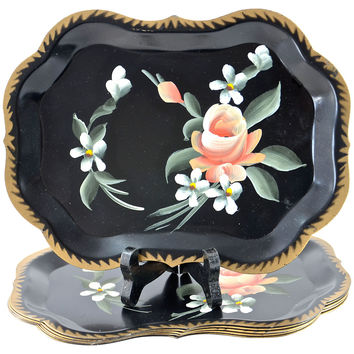 Hand-Painted Tole Trays, S/6