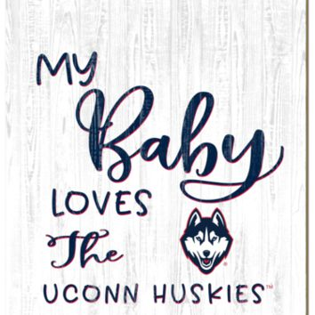 Connecticut Huskies | My Baby Loves | Sign | Wood | Rope Hanger | NCAA
