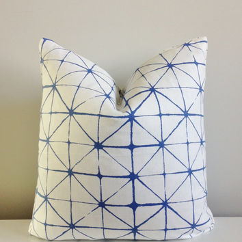 Indigo Shibori Pillow Cover 18x18, 20x20 Square Throw Pillow 16 22 24 26 Euro Japanese Cotton