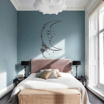 ik1553 Wall Decal Sticker month moon night sky cats living bedroom room …