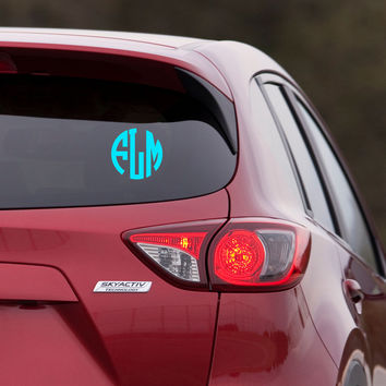 Monogram Car Decal Sticker - Circle Block Font - Monogram Everything - wall macbook window door