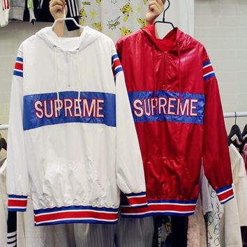 Supreme new autumn and winter printing hooded head sweater coat men and women models s