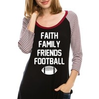 Faith Family Friends Football Gameday Graphic T-Shirt