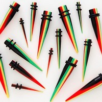 1 PAIR Acrylic Rasta Taper Ear Expander Gauges 4g 2g 0g  You Pick Gauge