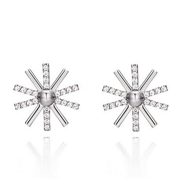 Womens 925 Silver Sunflower Stud Earrings With Cut Crystal +Gift Box