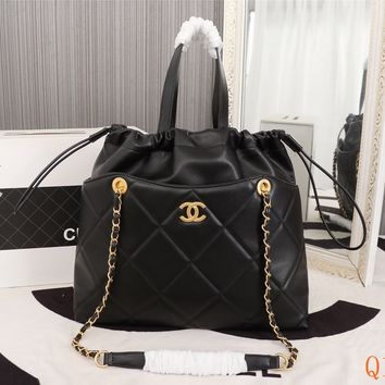 HCXX 19Sep 514 Fashion Large Capacity Tote Shopper Chain Quilted Drastring Bag 37-32-7cm