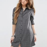 Glamorous Shirt Dress With Long Sleeves And Subtle Check