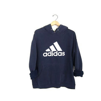Vintage ADIDAS sweatshirt. Worn in Distressed. Hooded sports sweatshirt. Blue cotton blend boyfriend hoodie. Sporty pullover. Medium