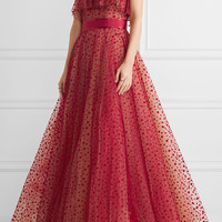 Jenny Packham - Ruffle-trimmed flocked tulle gown