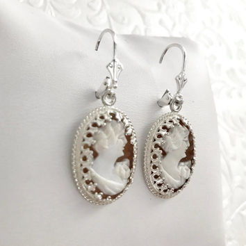 Bridal Earrings, Wedding Earrings Vintage, Antique Cameo Earrings, Cameo Jewelry,  Italian Shell Jewelry, Gift for Bride