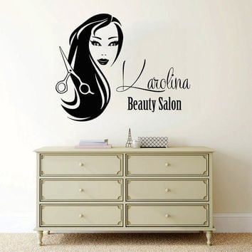 Custom Logo Hair Salon Wall Decal Personalized Name Girl Vinyl Sticker Beauty Salon Decor Make Up Interior Design Living Room Decor KY150