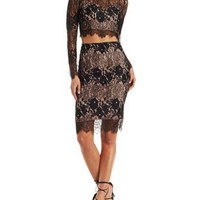 Black Combo A.Peach Two-Piece Lace Midi Hook-Up by Charlotte Russe