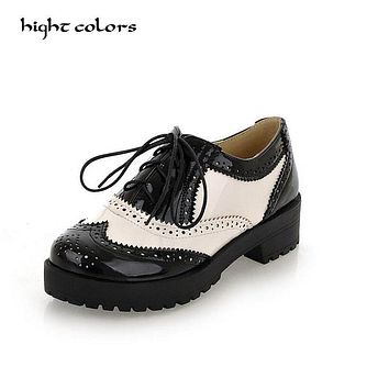 Size 34-43 New 2017 Vintage Black/White Round Toe Leather Oxfords Shoe Womens Ladies Lace Up Flat Platform Brogue Creepers Shoes