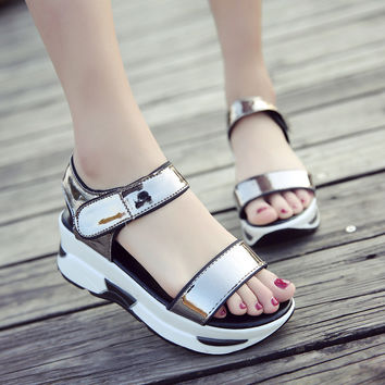 Fashion 2017 Women Bling Sandals Summer Shoes Woman Platform Wedges Sandals Bling Slides Platform Slippers Women Casual Shoes