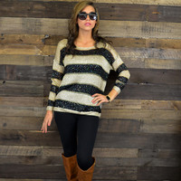 Winter Tide Black Striped Sequin Sweater Top