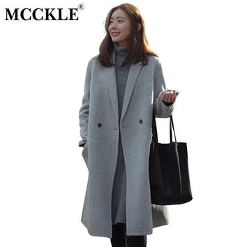 MCCKLE Women Autumn Winter Coats Jackets warm wool blends vintage solid Oversized High Quality Winter Long Coat Manteau Femme