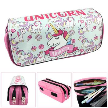 Unicorn Double zipper school pencil case for girls Cute PU leather big capacity pen bag Stationery Pouch School Supplies Zakka