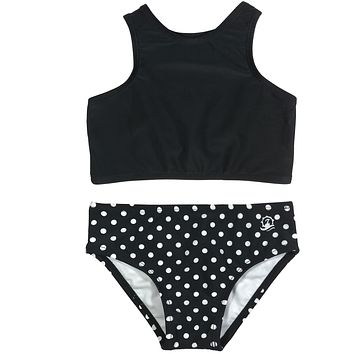 "Little Girl Halter (2 Piece) - ""Black Polka Dot"""
