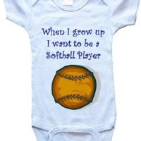 WHEN I GROW UP I WANT TO BE A SOFTBALL PLAYER - BigBoyMusic Baby One Piece Bodysuit