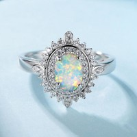 MJARTORIA Luxury Silver Shining Ring Oval Opal Ring Fashion Female Jewelry Rhinestone Engagement Wedding Rings For Women Anillos