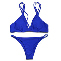 Fashion Simple Beach Solid Color Strap Bikini Swimwear Set Two-Piece
