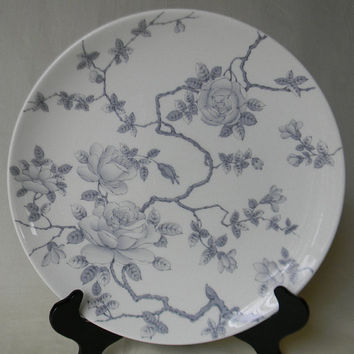 """Silver Gray Toile Trailing Roses Vintage English Transferware 10"""" Dinner Plate Tapestry Adderley"""