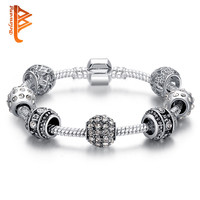 Fashion Women Bracelet Silver Plated Crystal Bead Charm Bracelet For Women Fine Jewelry Original Bracelets Gift PS3005