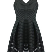 Black Sheer Stripe V-Neckline Sleeveless Skater Dress