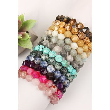Adjustable Faceted Stone Bracelet