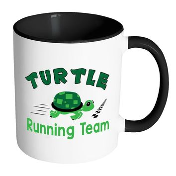 Funny Runners Mug Turtle Running Team White 11oz Accent Coffee Mugs