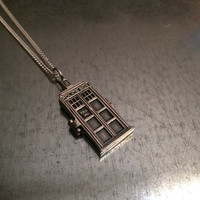 Sterling Silver Phone Booth Locket Necklace