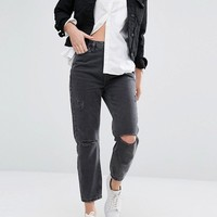 New Look Busted Knee Mom Jean at asos.com