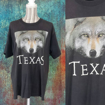 80s Texas Wolf T-Shirt Vintage Graphic Tee Worn Distressed 90s Grunge Faded Black Bleached Trashed Burnout TShirt Screen Stars Best