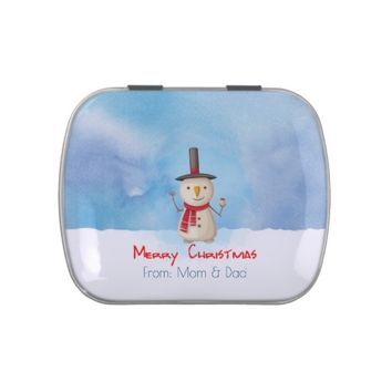 Merry Christmas Snowman Waving And Smiling Candy Tin