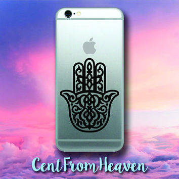 2 EXTRAS FREE - Hamsa Hand iPhone Android Samsung Galaxy Phone Apple Decal Sticker Yoga Namaste Mandala Lotus