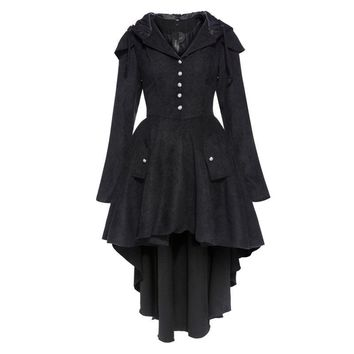 Vintage Gothic Retro Cotton Blend Trench Overcoat Cape Lace Up