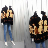 80s Black Puppy Jacket Hipster Fleece Ironic Kitsch Coat Nature Wildlife Jumper Sweater Southwestern Kawaii