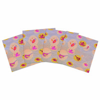 "Marianna Tankelevich ""Birds Paradise"" Pink Abstract Indoor/Outdoor Place Mat (Set of 4)"