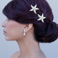 Sea Star - Rhinestone and Freshwater Pearl Starfish Hair Clip