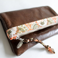 Leather fold over clutch OOAK