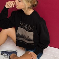 NANCY NEW YORK CROPPED SWEATSHIRT
