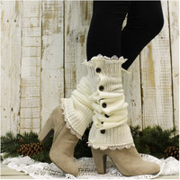 LACY double lace leg warmers - cream