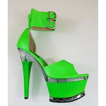 "Neon Green Ankle Cuff 7"" High Heel Platform Shoe Hand Crafted USA Size 9"