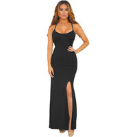 Black Spaghetti Straps Maxi Dress LAVELIQ