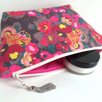 Large Cosmetic Bag, Large Makeup Bag, Floral Makeup Bag, Floral Cosmetic Bag, Floral Zipper Pouch, Large Pencil Pouch