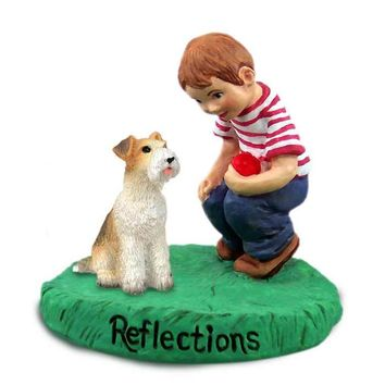 WIRE FOX TERRIER RED REFLECTIONS W/BOY FIGURINE